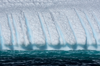 Beautiful sculptured iceberg on the way out to Gardiner Island