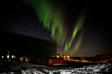 Green and red tinges in this aurora shot over the Green store - this time the view is to the souuth