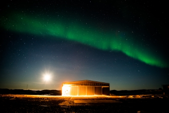 Moon and aurora over the avaition shed - view to the NE