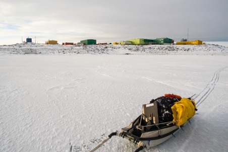 Davis as seen from out on the sea ice - sled used to carry our gear