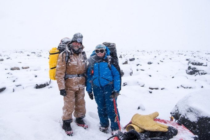 At the end of Dingle Road - Kirsten and I carrying survival packs