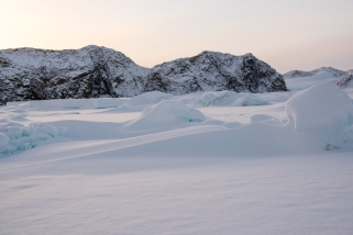The deep snow drifts and rafted ice near PL-09